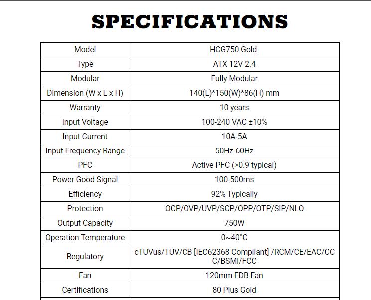 Psu Hcg750 Gold Description