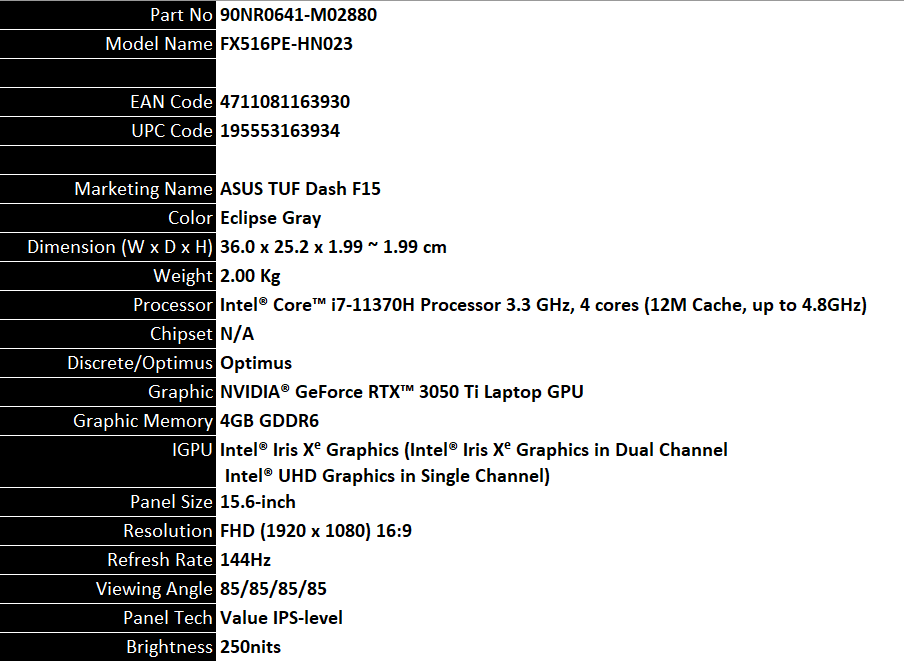 Fx516pe Hn023 Description