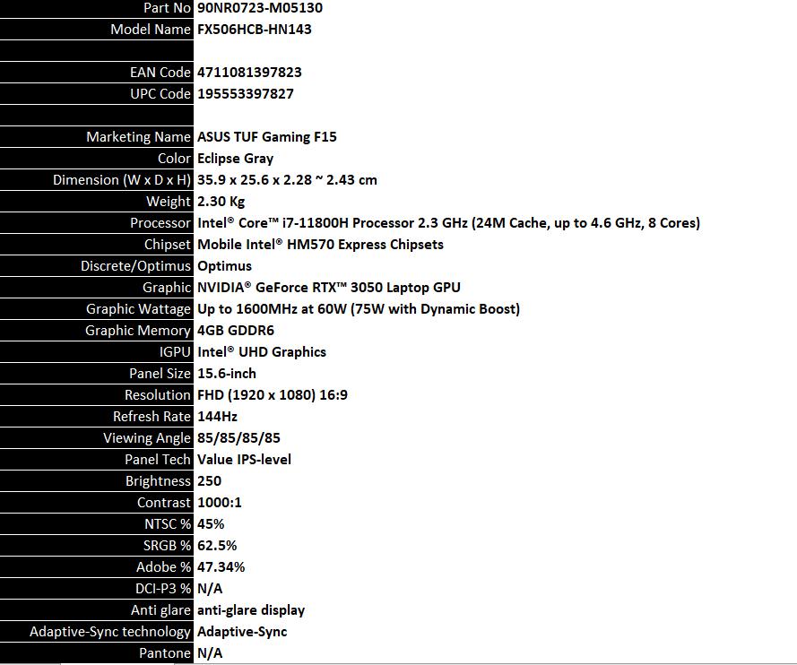 Fx506hcb Hn143 Description